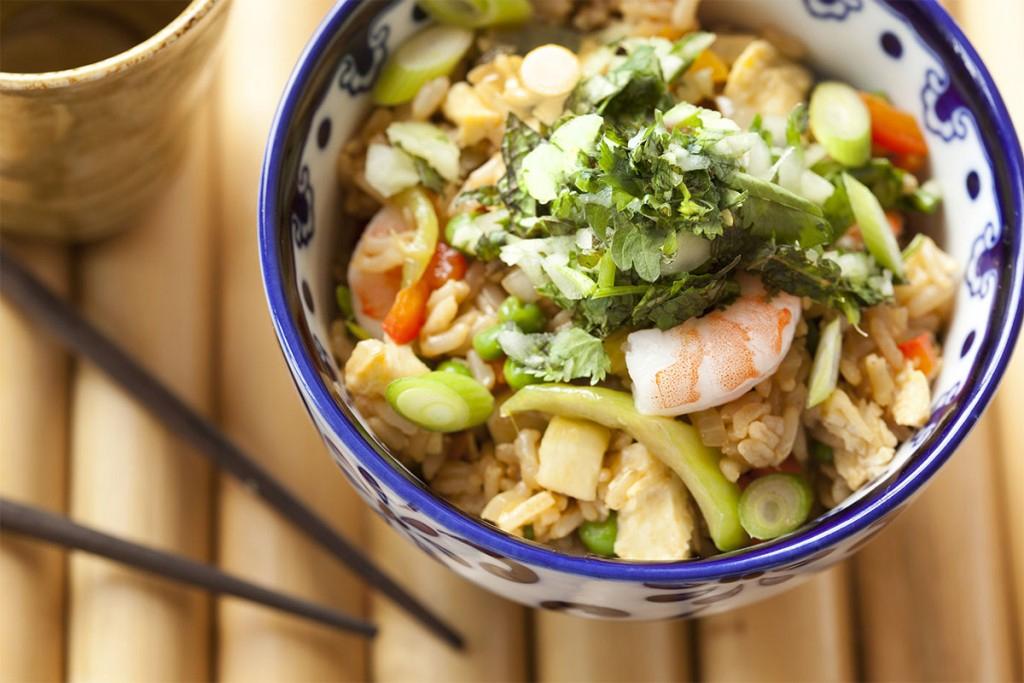 Cilantro Salsa over Shrimp Fried Rice